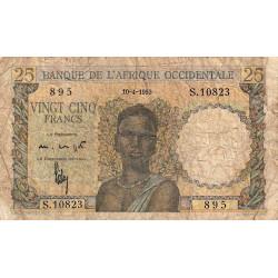 AOF - Pick 38_2j - 25 francs - 10/04/1953 - Etat : AB