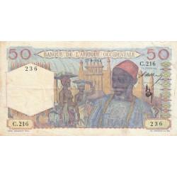 AOF - Pick 39_1a - 50 francs - Etat : TTB