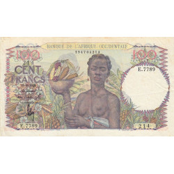 AOF - Pick 40_2c - 100 francs - Etat : TTB