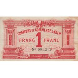Agen - Pirot 2-17 - 1 franc - 27/07/1922 - Etat : TTB