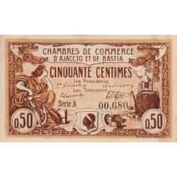 Ajaccio / Bastia - Pirot 3-3 - 50 centimes - Série A - 06/08/1915 - Etat : SUP