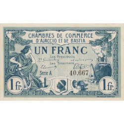 Ajaccio / Bastia - Pirot 3-4 - 1 franc - Série A - 06/08/1915 - Etat : SPL