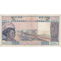 Burkina-Faso - Pick 308Cp - 5'000 francs - Série N.013 - 1992 - Etat : TB