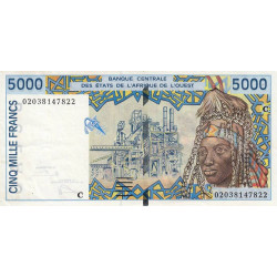 Burkina-Faso - Pick 313Cl - 5'000 francs - 2002 - Etat : SUP+