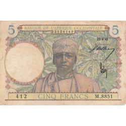 AOF - Pick 25_2 - 5 francs - 22/04/1942 - Etat : TB+