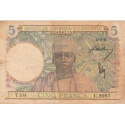 AOF - Pick 25_2 - 5 francs - 22/04/1942 - Etat : TB-
