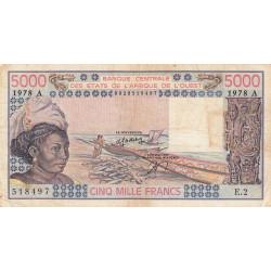 Côte d'Ivoire - Pick 108Ab - 5'000 francs - Série E.2 - 1978 - Etat : TB-