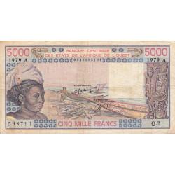 Côte d'Ivoire - Pick 108Ac - 5'000 francs - Série Q.2 - 1979 - Etat : TB-