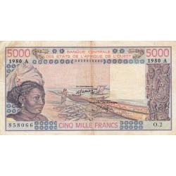 Côte d'Ivoire - Pick 108Ad - 5'000 francs - Série O.2 - 1980 - Etat : TB-