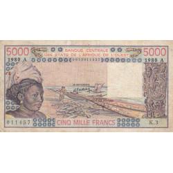 Côte d'Ivoire - Pick 108Ad - 5'000 francs - Série K.3 - 1980 - Etat : TB-