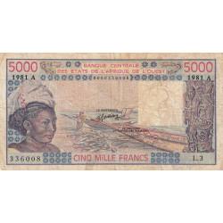 Côte d'Ivoire - Pick 108Ah - 5'000 francs - 1981 - Etat : B+