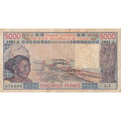 Côte d'Ivoire - Pick 108Ah - 5'000 francs - Série L.3 - 1981 - Etat : B+