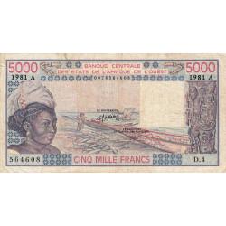Côte d'Ivoire - Pick 108Ah - 5'000 francs - Série D.4 - 1981 - Etat : TB-