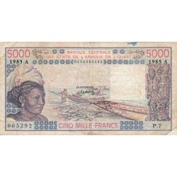 Côte d'Ivoire - Pick 108An - 5'000 francs - Série P.7 - 1985 - Etat : B+