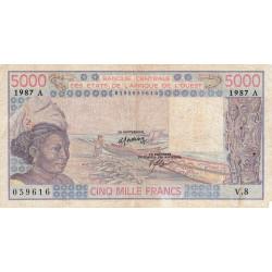 Côte d'Ivoire - Pick 108Ap - 5'000 francs - Série V.8 - 1987 - Etat : B+