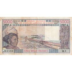 Côte d'Ivoire - Pick 108Ap - 5'000 francs - Série M.9 - 1987 - Etat : B