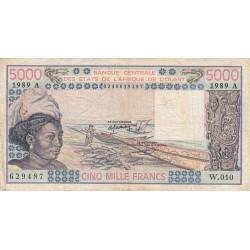 Côte d'Ivoire - Pick 108Ag - 5'000 francs - Série W.010 (billet de remplacement) - 1989 - Etat : TB-