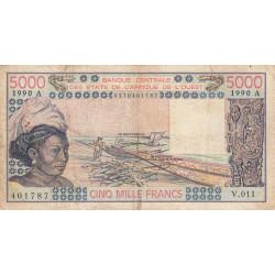 Côte d'Ivoire - Pick 108Aq - 5'000 francs - 1990 - Etat : B+