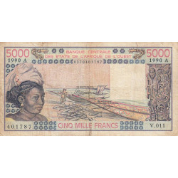 Côte d'Ivoire - Pick 108Aq - 5'000 francs - Série V.011 - 1990 - Etat : B+