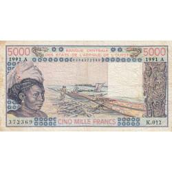 Côte d'Ivoire - Pick 108Ar - 5'000 francs - Série K.012 - 1991 - Etat : B+