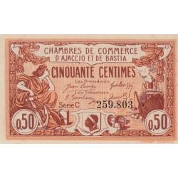 Ajaccio / Bastia - Pirot 3-8 - 50 centimes - Série C - 12/03/1920 - Etat : SPL