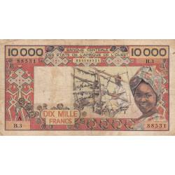 Côte d'Ivoire - Pick 109Aa- 10'000 francs - 1977 - Etat : B+