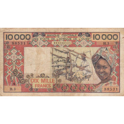 Côte d'Ivoire - Pick 109Aa - 10'000 francs - Série B.3 - 1977 - Etat : B+
