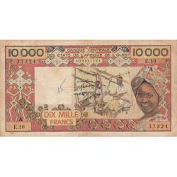 Côte d'Ivoire - Pick 109Ab- 10'000 francs - 1979 - Etat : B+