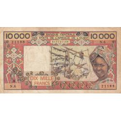 Côte d'Ivoire - Pick 109Ad_1- 10'000 francs - 1985 - Etat : B+