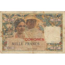 Comores - Pick 5a - 1'000 francs - 1952 - Etat : TB-