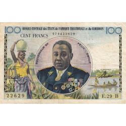 Centrafrique - Afrique Equatoriale - Pick 1b - 100 francs - Série E.29 - 1961 - Etat : TB+