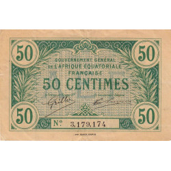 AEF - Pick 1a_3 - 50 centimes - 1917 - Etat : TTB+