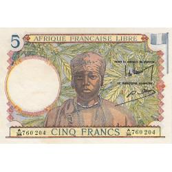AEF - Pick 6_1 - 5 francs - Série A/35 - 31/07/1943 - Etat : SUP