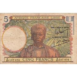 AEF - Pick 6_1 - 5 francs - Série A/47 - 20/04/1944 - Etat : TB-