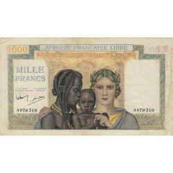 AEF - Pick 9 - 1'000 francs - 31/07/1942 - Série A - Etat : TTB+