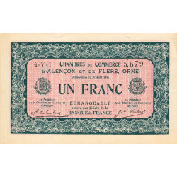 Alençon / Flers (Orne) - Pirot 6-38 - 1 franc - 1915 - Etat : SUP