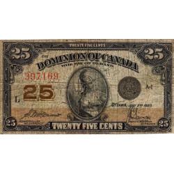 Canada - Pick 11b - 25 cents - 02/07/1923 - Etat : B