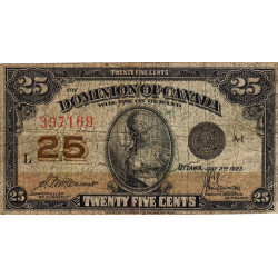 Canada - Pick 11b - 25 cents - 1923 - Etat : B