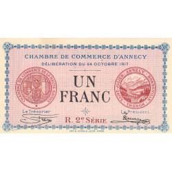 Annecy - Pirot 10-12 - 1 franc - R. 2e Série 202 - 24/10/1917 - Etat : SPL
