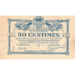 Annonay - Pirot 11-7 - 50 centimes - 1914 - Etat : TTB