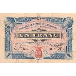 Annonay - Pirot 11-20 - 1 franc - 1917 - Etat : TB