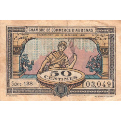 Aubenas - Pirot 14-1 - 50 centimes - Série 138 - 19/12/1921 - Etat : TB