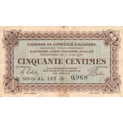 Auxerre - Pirot 17-12 - 50 centimes - Série AL 137 - 10/08/1916 - Etat : TB