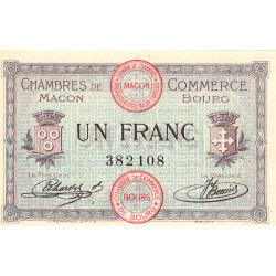 Macon et Bourg - Pirot 78-3 - 1 franc - Sans série - 01/09/1915 - Etat : NEUF