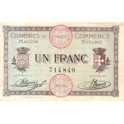 Macon et Bourg - Pirot 78-3 - 1 franc - Sans série - 01/09/1915 - Etat : TB