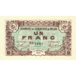 Melun - Pirot 80-8 variété - 1 franc - 1919 - Etat : TTB+