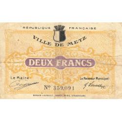 Metz - Pirot 131-6 - 2 francs - 27/12/1918 - Etat : TB-