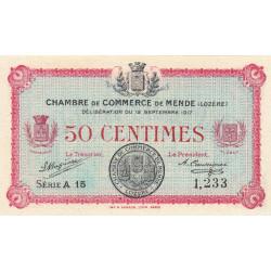Mende (Lozère) - Pirot 81-1 - 50 centimes - Série A 15 - 12/09/1917 - Etat : NEUF