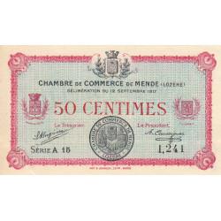 Mende (Lozère) - Pirot 81-1 - 50 centimes - Série A 15 - 12/09/1917 - Etat : SUP+ à SPL