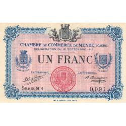 Mende (Lozère) - Pirot 81-3 - 1 franc - Série B 1 - 12/09/1917 - Etat : SUP+ à SPL
